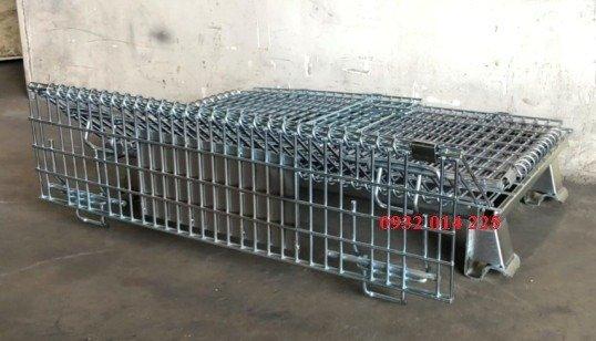 Pallet lưới có bánh xe đẩy.pallet lưới xếp chồng, pallet sắt3