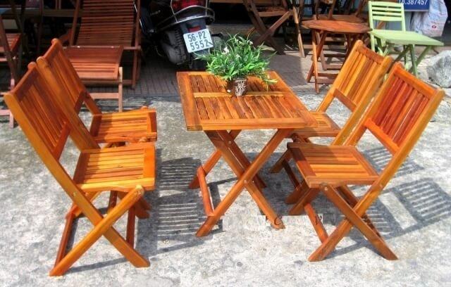 Bộ bàn ghế gỗ xếp sân vườn Ak0030