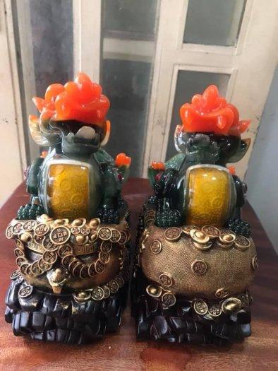 Cặp tỳ hưu hút tài lớn xanh đậm đầu cam đứng hủ vàng bao tiền vàng2