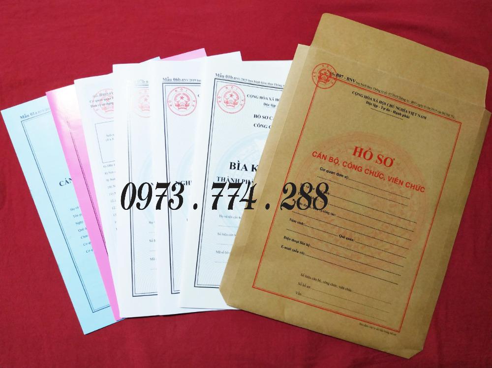 Bán bìa kẹp hồ sơ cán bộ nhân viên công chức viên chức, mẫu 06b-BNV/2019),TT074