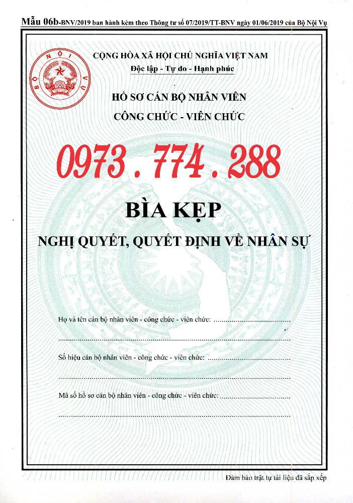 Bán bìa kẹp hồ sơ cán bộ nhân viên công chức viên chức, mẫu 06b-BNV/2019),TT070