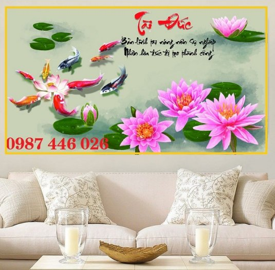 Gạch tranh hoa sen nghệ thuật HP6296