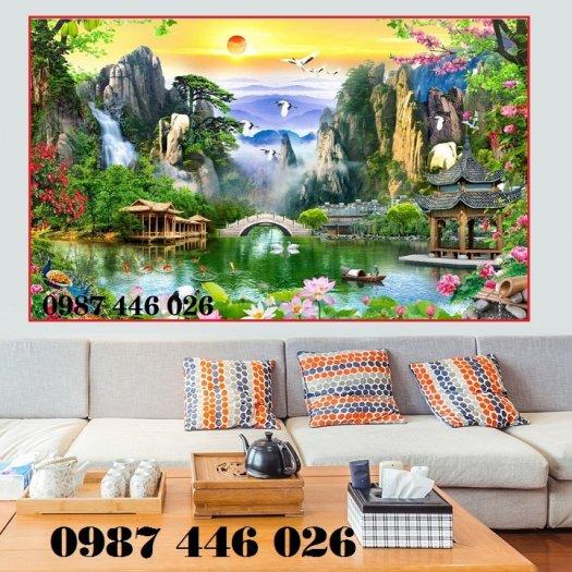 Gạch trang trí tranh tường phong cảnh 3d HP60189