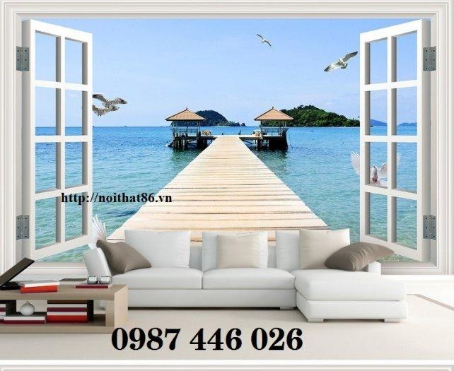 Tranh gạch 3d phong cảnh cửa sổ ốp tường HP5189