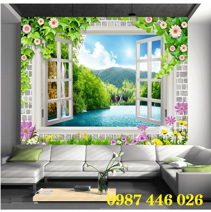 Tranh gạch 3d phong cảnh cửa sổ ốp tường HP5188