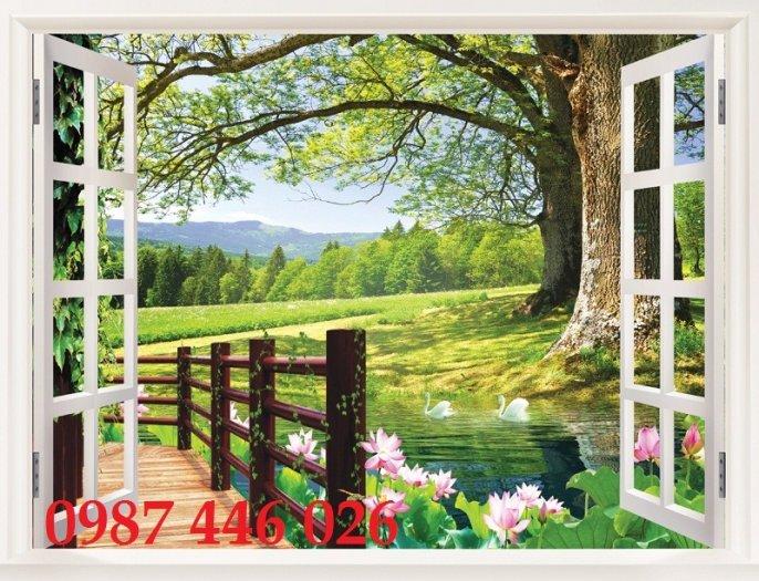 Tranh gạch 3d phong cảnh cửa sổ ốp tường HP5187