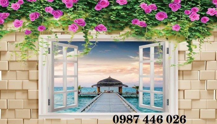 Tranh gạch 3d phong cảnh cửa sổ ốp tường HP5185