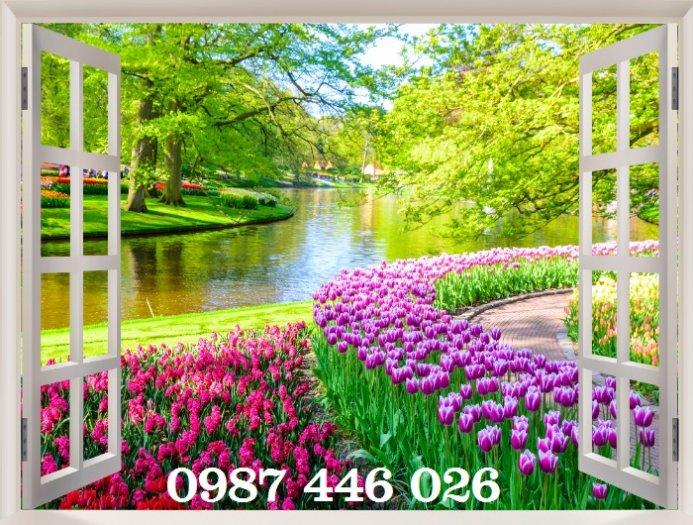 Tranh gạch 3d phong cảnh cửa sổ ốp tường HP5184