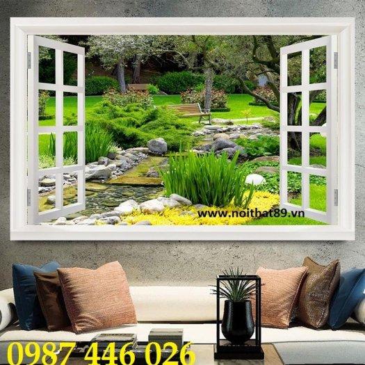 Tranh gạch 3d phong cảnh cửa sổ ốp tường HP5183