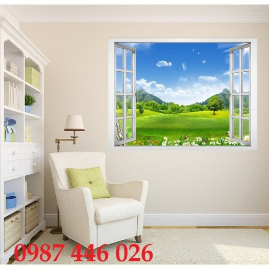 Tranh gạch 3d phong cảnh cửa sổ ốp tường HP5182