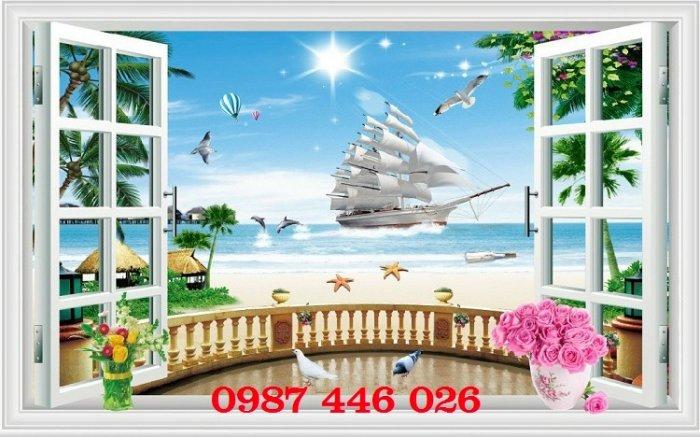 Tranh gạch 3d phong cảnh cửa sổ ốp tường HP5181