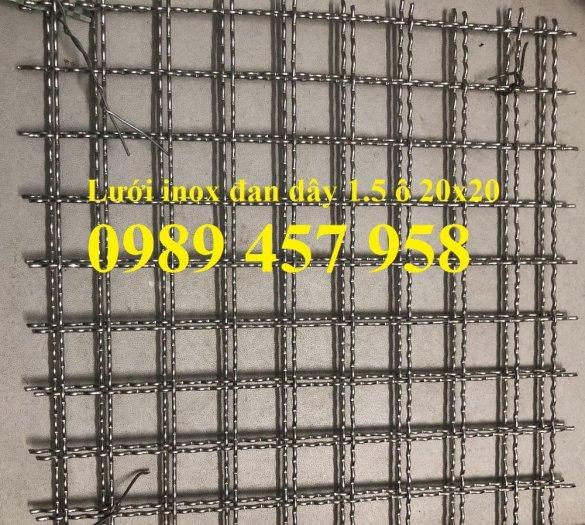 Lưới inox dây 2ly ô 20x20, Lưới inox dây 1.5mm ô 20x20, Lưới đan inox 3043