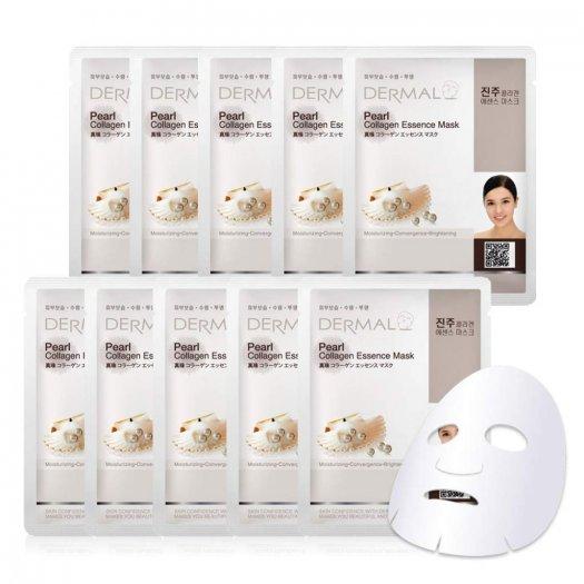 Mặt Nạ Dermal Tinh Chất Ngọc Trai Dưỡng Trắng Da Pearl Collagen Essence Mask 23g - 10 Miếng0