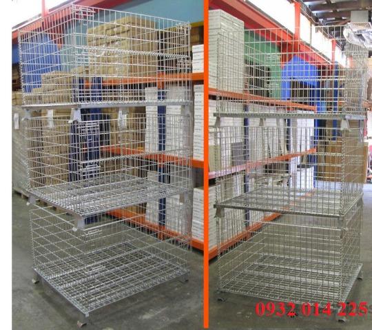 Pallet lưới xếp chồng, Lồng sắt đựng hàng, mesh pallet cages, wire mesh storage boxes0