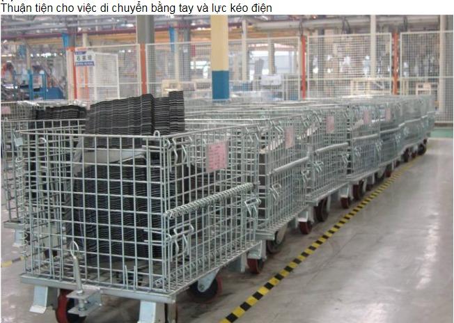 Xe lồng sắt ,Xe đẩy lồng sắt có cửa trước,Lồng lưới, Lồng sắt có gắn bánh xe ,xe đẩy lồng sắt trữ hàng2