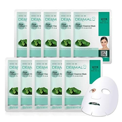 Mặt Nạ Dermal Tinh Chất Lô Hội Ngăn Ngừa Lão Hóa Da Aloe Collagen Essence Mask 23g - 10 Miếng2