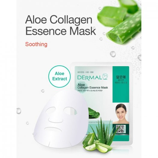 Mặt Nạ Dermal Tinh Chất Lô Hội Ngăn Ngừa Lão Hóa Da Aloe Collagen Essence Mask 23g - 10 Miếng1
