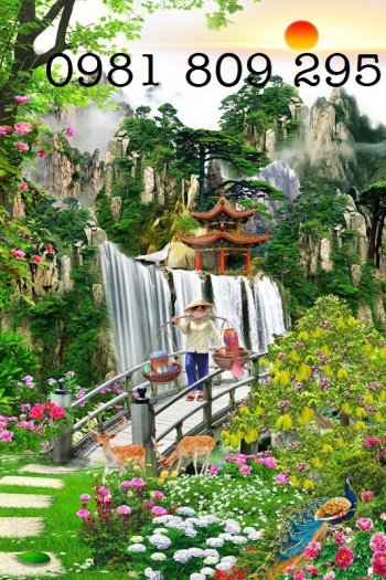 Tranh gạch thác nước - phong cảnh trang trí5