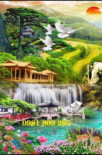 Tranh gạch thác nước - phong cảnh trang trí3