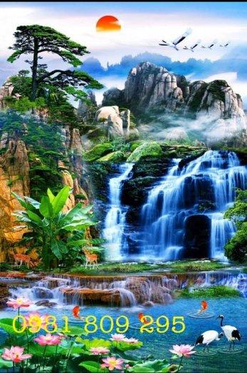 Tranh gạch thác nước - phong cảnh trang trí2