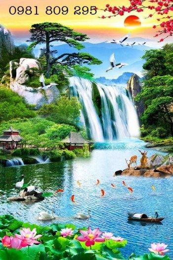 Tranh gạch thác nước - phong cảnh trang trí0