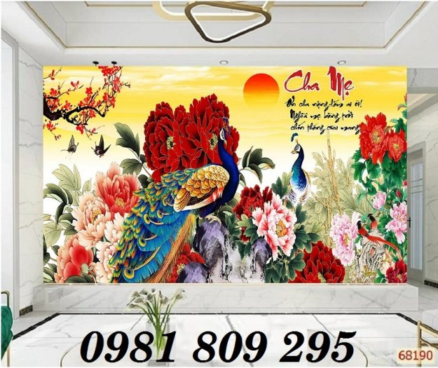 Gạch tranh ốp phòng ngủ - tranh chim công2