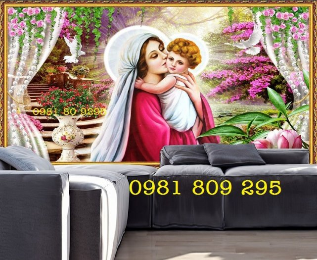 Gạch tranh công giáo - Đức Mẹ ôm con4