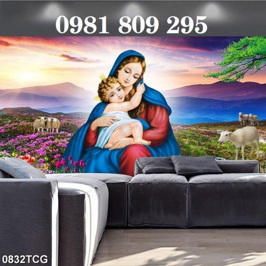 Gạch tranh công giáo - Đức Mẹ ôm con3