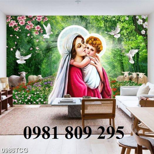 Gạch tranh công giáo - Đức Mẹ ôm con1