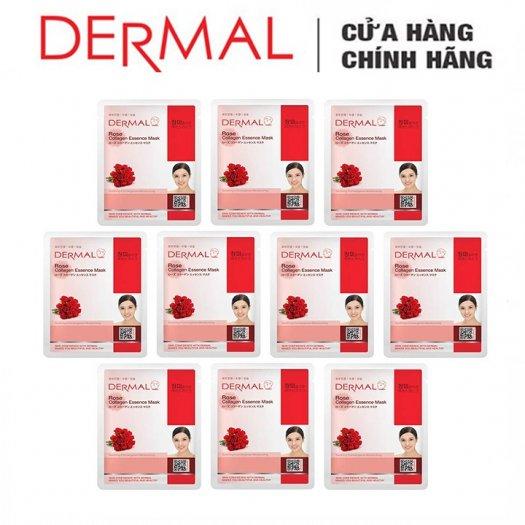 Mặt Nạ Dermal Tinh Chất Hoa Hồng Làm Dịu Da Rose Collagen Essence Mask 23g - 10 Miếng3