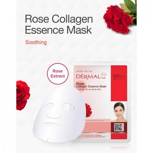 Mặt Nạ Dermal Tinh Chất Hoa Hồng Làm Dịu Da Rose Collagen Essence Mask 23g - 10 Miếng2