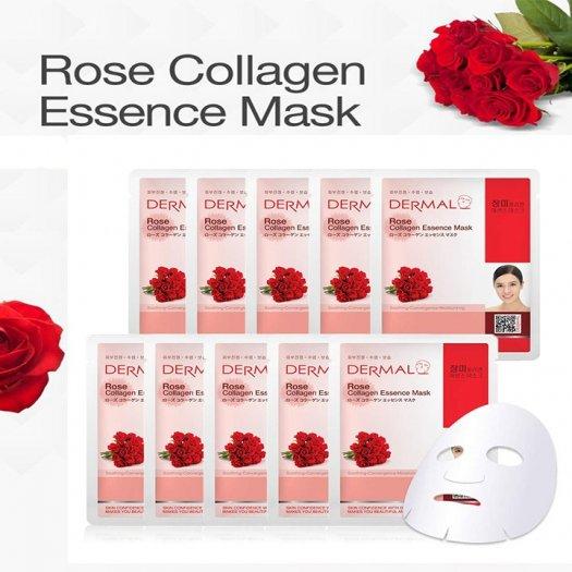 Mặt Nạ Dermal Tinh Chất Hoa Hồng Làm Dịu Da Rose Collagen Essence Mask 23g - 10 Miếng1