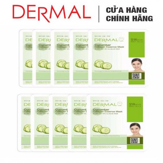 Mặt Nạ Dermal Tinh Chất Dưa Leo Dưỡng Ẩm Da Cucumber Collagen Essence Mask 23g - 10 Miếng2