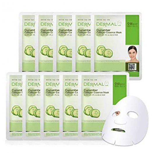 Mặt Nạ Dermal Tinh Chất Dưa Leo Dưỡng Ẩm Da Cucumber Collagen Essence Mask 23g - 10 Miếng0