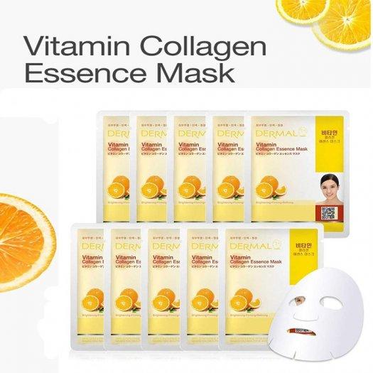 Mặt Nạ Dermal Tinh Chất Vitamin Làm Sáng Da Vitamin Collagen Essence Mask 23g - 10 Miếng3
