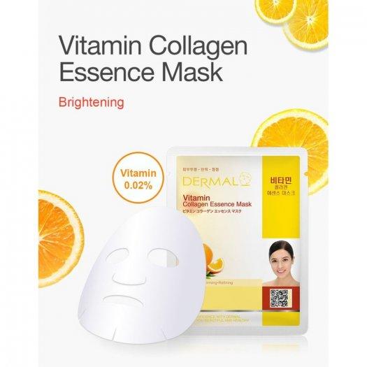 Mặt Nạ Dermal Tinh Chất Vitamin Làm Sáng Da Vitamin Collagen Essence Mask 23g - 10 Miếng1