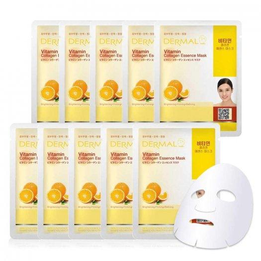 Mặt Nạ Dermal Tinh Chất Vitamin Làm Sáng Da Vitamin Collagen Essence Mask 23g - 10 Miếng0