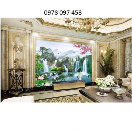 Tranh trang trí phòng khách - tranh thác nước1