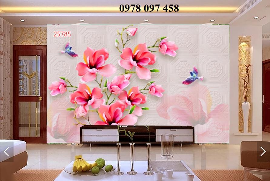 Tranh hoa 3D - tranh gạch men ốp tường0