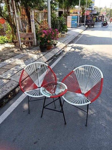 Bộ đôi ghế nhựa giả mây lạ độc giá rẻ3