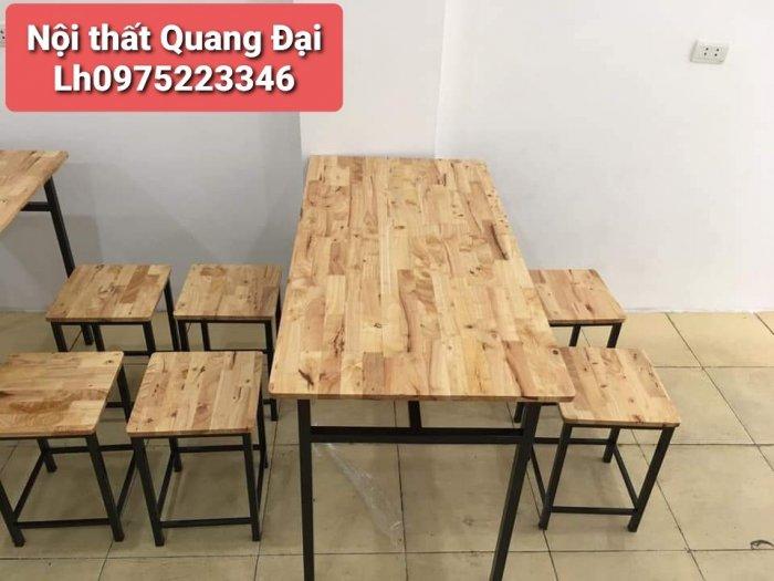Bàn ghế gỗ chân sắt,ăn vặt,trà sữa,xuyên que0