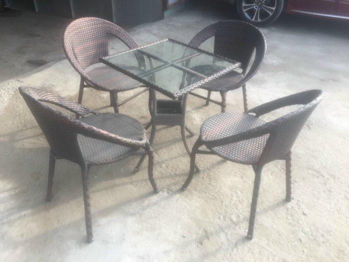 Bộ bàn ghế nhựa mây cafe giá rẻ1