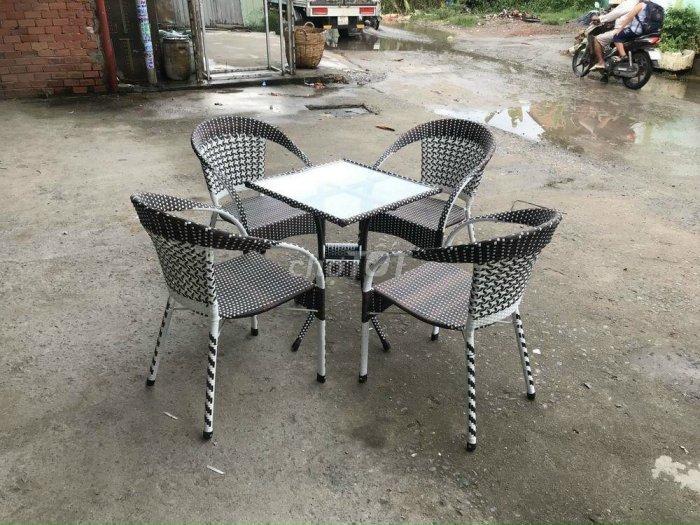 Bộ bàn ghế nhựa mây cafe giá rẻ0