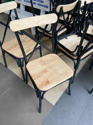 Xả kho lô bàn ghế gỗ chữ X chân sắt giá rẻ3
