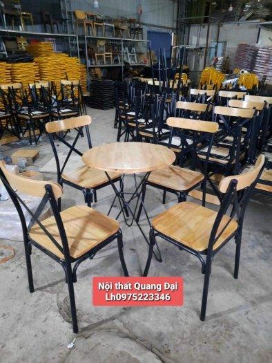 Xả kho lô bàn ghế gỗ chữ X chân sắt giá rẻ2