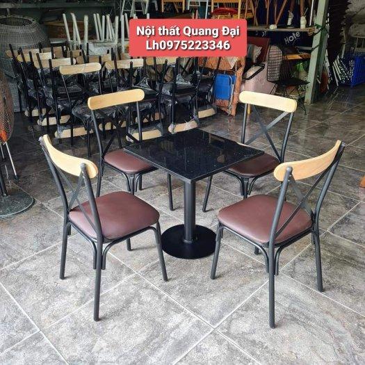 Xả kho lô bàn ghế gỗ chữ X chân sắt giá rẻ1