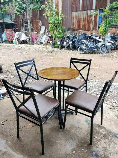Xả kho lô bàn ghế gỗ chữ X chân sắt giá rẻ0