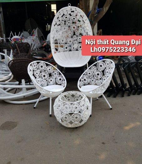 Bội đôi xích đu bàn ghế nhựa giả mây màu Nâu4