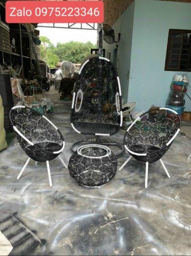 Bội đôi xích đu bàn ghế nhựa giả mây màu Nâu0