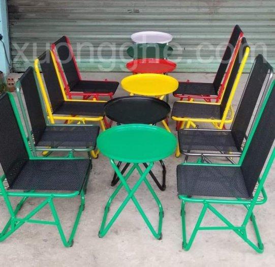 Bộ ghế sắt lưới xếp nhiều màu giá hạt giẻ3